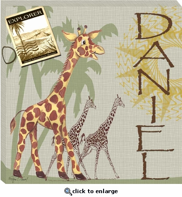 Giraffe Safari Gallery Wrapped Stretched Giclee Canvas