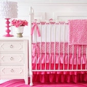 Girly Pink Leopard Crib Bedding