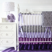 Girly Purple Leopard Baby Crib Bedding