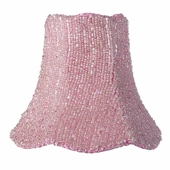 Glass Bead on Fabric Pink Chandelier Shade