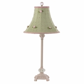 Green Check with Pink Rosebud Shade on Medium Scroll Glass Ball Pink Lamp