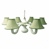 Green Gingham Six Arm Spindle Chandelier