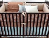 Honey Marcel Plump Crib Bumper with Fog Chloe Piping