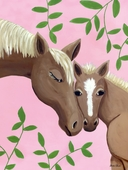 Horse Kisses Pink Canvas Wall Art