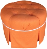 Huntington Orange Adult Park Avenue Round Stationary Ottoman