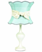 Ice Blue Scallop Hourglass Shade on Large Curvature Pearlized Lamp