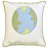 It's a Small World Embroidered Throw Pillow