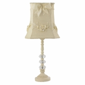 Ivory Floral Bouquet Shade on Medium 3 Glass Ball Ivory Lamp