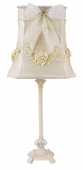 Ivory Floral Bouquet Shade on Medium Scroll Glass Ball Ivory Lamp