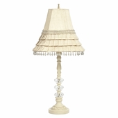 Ivory Medium 3 Glass Ball Lamp with Ivory Skirted Shade