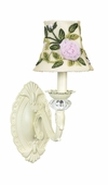 Ivory Rose Net Flower Shade on 1-Arm Turret Ivory Wall Sconce