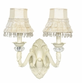Ivory Skirt Dangle Shade on 2-Arm Turret Ivory Wall Sconce