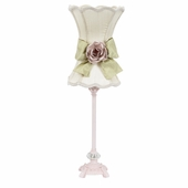 Ivory with Green Bow Scallop Hourglass Shade and Light Pink Rose Magnet on Medium Scroll Glass Ball Pink Lamp