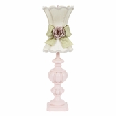 Ivory with Green Bow Scallop Hourglass Shade and Light Pink Rose Magnet Shade on Large Urn Pink Lamp