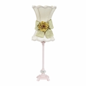 Ivory with Green Bow Scallop Hourglass Shade and Yellow Rose Magnet on Medium Scroll Glass Ball Pink Lamp