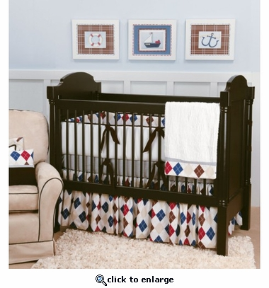 Ivy League Blue Crib Bedding Set
