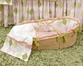 Ivy League Pink Moses Basket & Blanket