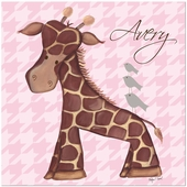 Jackie Giraffe on Pink Gallery Wrapped Stretched Giclee Canvas
