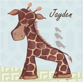 Jackson Giraffe on Blue Gallery Wrapped Stretched Giclee Canvas