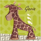 Jackson Giraffe on Bright Green Gallery Wrapped Stretched Giclee Canvas