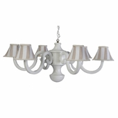 Khaki Stripe Six Arm Large Scroll Chandelier