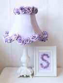 Lavender Dupioni Silk & Roses Table Lamp