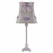 Lavender Floral Bouquet Shade on Medium Scroll Glass Ball Lavender Lamp