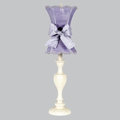 Lavender Scallop Hourglass Shade on Large Curvy Candle Ivory Lamp