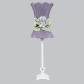 Lavender with Modern Green Bow Scallop Hourglass Shade and White Rose Magnet on Medium Scroll Glass Ball White Lamp