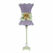 Lavender with Modern Green Bow Scallop Hourglass Shade and Yellow Rose Magnet on Medium Scroll Glass Ball Pistachio Lamp