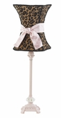 Leopard Hourglass Shade on Medium Scroll Glass Ball Pink Lamp