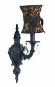 Leopard with Black Sash Hourglass Shade on 1-Arm Scroll Black Wall Sconce