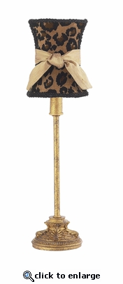 Leopard with Gold Sash Hourglass Shade on Small Leaf Scroll Antique Gold Lamp