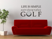 Life is Simple Golf Custom Wall Decal