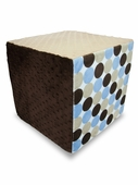 Light Blue/Neutral Polka Dot Minky Foam Block