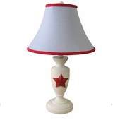 Light Chambray & Red Childtop Urn Lamp
