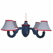 Light Chambray & Red Four Arm Acorn Chandelier
