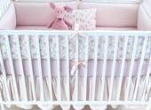 Lilac Arpege Plump Crib Bumper with Lilac Lucia Piping
