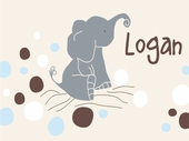 Logan�s Dots Cream Personalized Canvas Wall Art