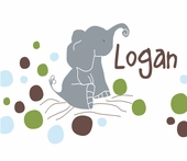 Logan�s Dots White Personalized Canvas Wall Art