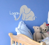 Logan's Elephant Custom Personalized Wall Decal