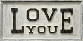 Love You Wooden Antiqued Sign