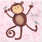 Maddie Monkey on Pink Gallery Wrapped Stretched Giclee Canvas