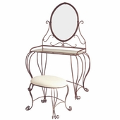 Mirror Top Iron Vanity Table and Stool