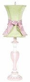 Modern Green Hourglass Shade on Large Curvy Candle Pink & White Lamp