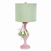 Modern Green Round Drum Shade with Pink & Green Tassel on Large Curvature Pink Lamp