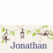 Monkeying Around Boy Personalized Canvas Wall Art