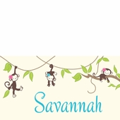 Monkeying Around Girl Personalized Canvas Wall Art