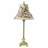 Multi Rose Net Flower Shade on Medium Scroll Glass Ball Pistachio Lamp