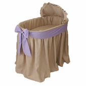 Natural Bassinet with Lavender Bow